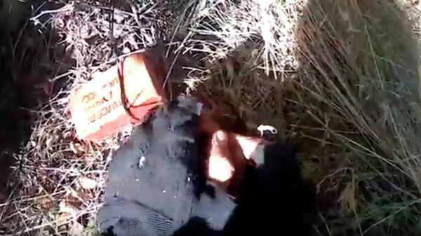 Скриншот видео служебной съемки обнаружения и обезвреживания противопехотных мин установленных ВСУ