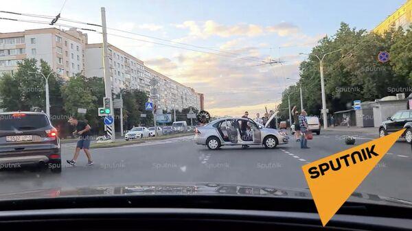 Ситуация на пересечении проспекта Пушкина и Одоевского в Минске. 11 августа 2020