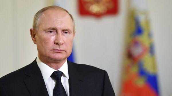 Президент РФ Владимир Путин выступает с приветствием организаторам, участникам и гостям международного военно-технического форума Армия - 2020 и Армейских международных игр - 2020