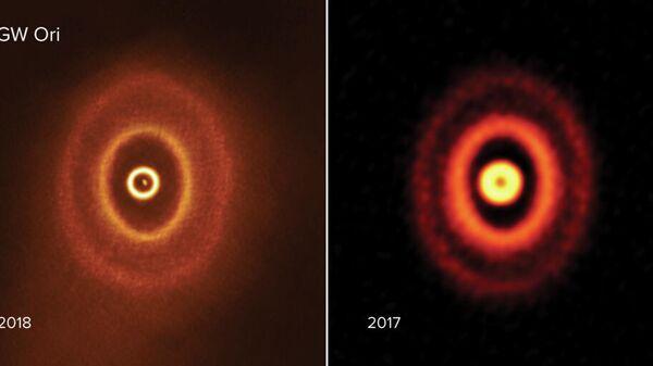 Изображения протопланетного диска тройной звездной системы GW Ориона, полученные радиотелексопом ALMA в 2018 и 2017 годах