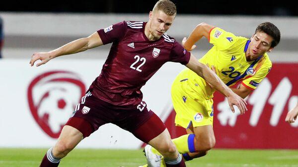 Игровой момент матча Лиги наций УЕФА Латвия - Андорра