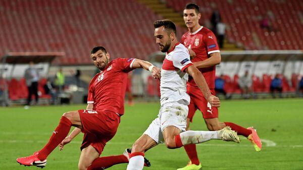 Игровой момент матча Сербия - Турция