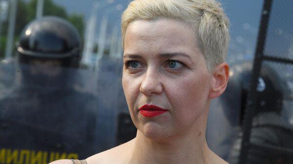 Мария Колесникова во время акции протеста оппозиции в Минске
