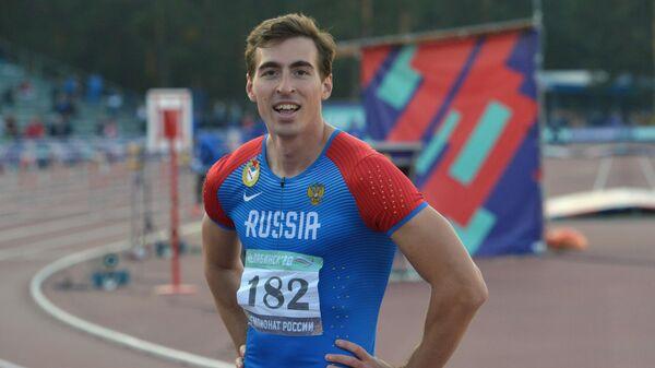 Сергей Шубенков после в забега на 110 метров с барьерами среди мужчин на чемпионате России по легкой атлетике в Челябинске.