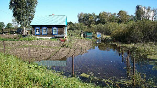 Последствия паводка в микрорайоне Красная речка в Хабаровске
