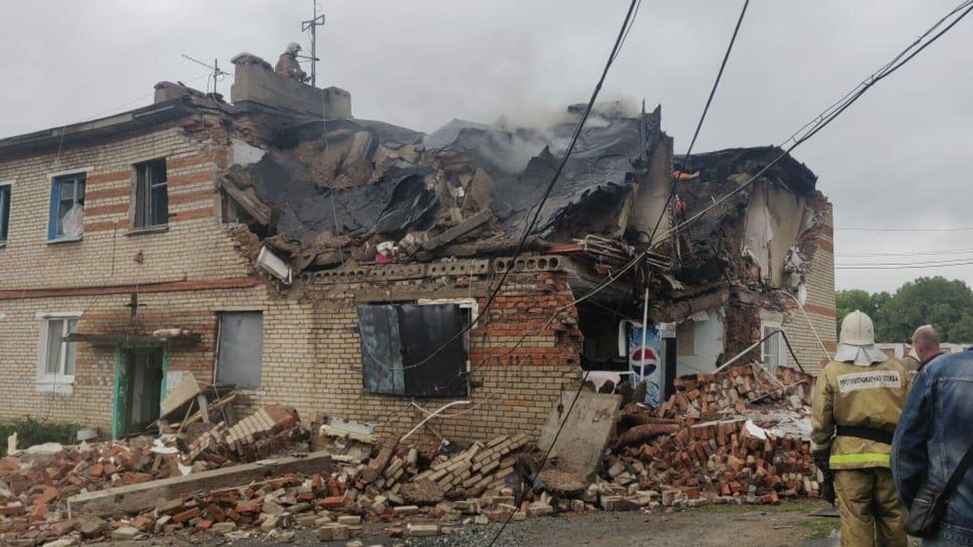 На месте взрыва в жилом доме в селе Вознесенка Хорольского района в Приморье - РИА Новости, 1920, 18.09.2020