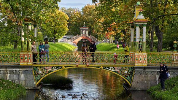 Молодые люди кормят уток с Китайского моста в Александровском парке в Пушкине