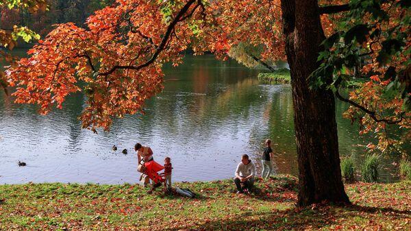 Отдыхающие на берегу Белого озера на территории музея-заповедника Гатчина в Ленинградской области