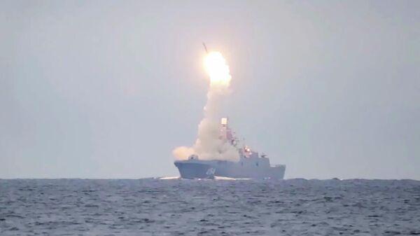 Пуск гиперзвуковой ракеты Циркон. Кадр видео