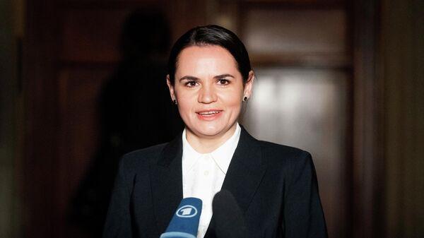 Лидер белорусской оппозиции, экс-кандидат в президенты Белоруссии Светлана Тихановская в Берлине