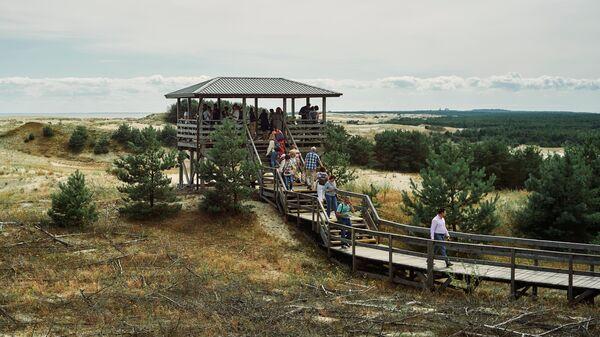 Туристы смотрят на дюны с высоты Эфа в национальном парке Куршская коса в Калининградской области