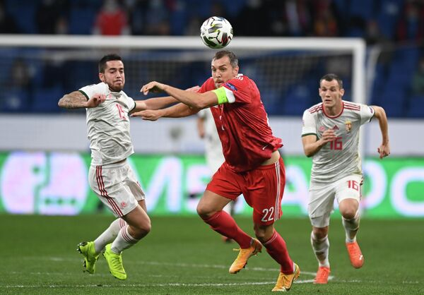 Игровой момент матча сборных России и Венгрии