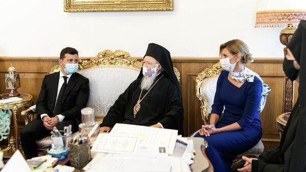 Президент Украины Владимир Зеленский и константинопольский патриарх Варфоломей во время встречи в Стамбуле