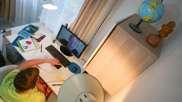 Ученик во время онлайн урока по истории