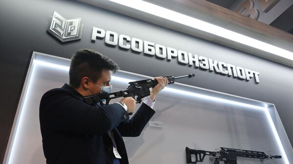 Стенд Рособоронэкспорта на XXIV Международной выставке Интерполитех - 2020 в Москве