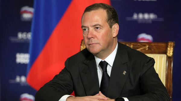 Заместитель председателя Совета безопасности РФ Дмитрий Медведев во время встречи в режиме видеоконференции с президентом Сербии, председателем Сербской прогрессивной партии Александром Вучичем