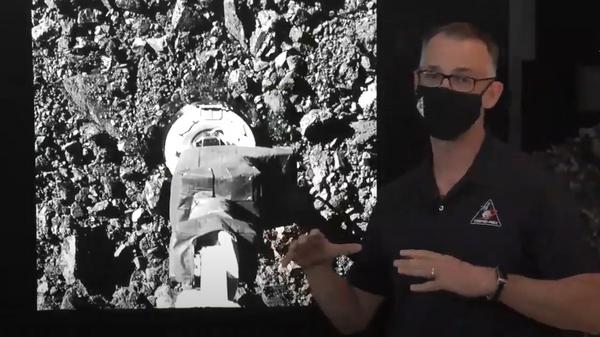 Прямая трансляция забора грунта автоматическим зондом Osiris-Rex с астероида Бенну