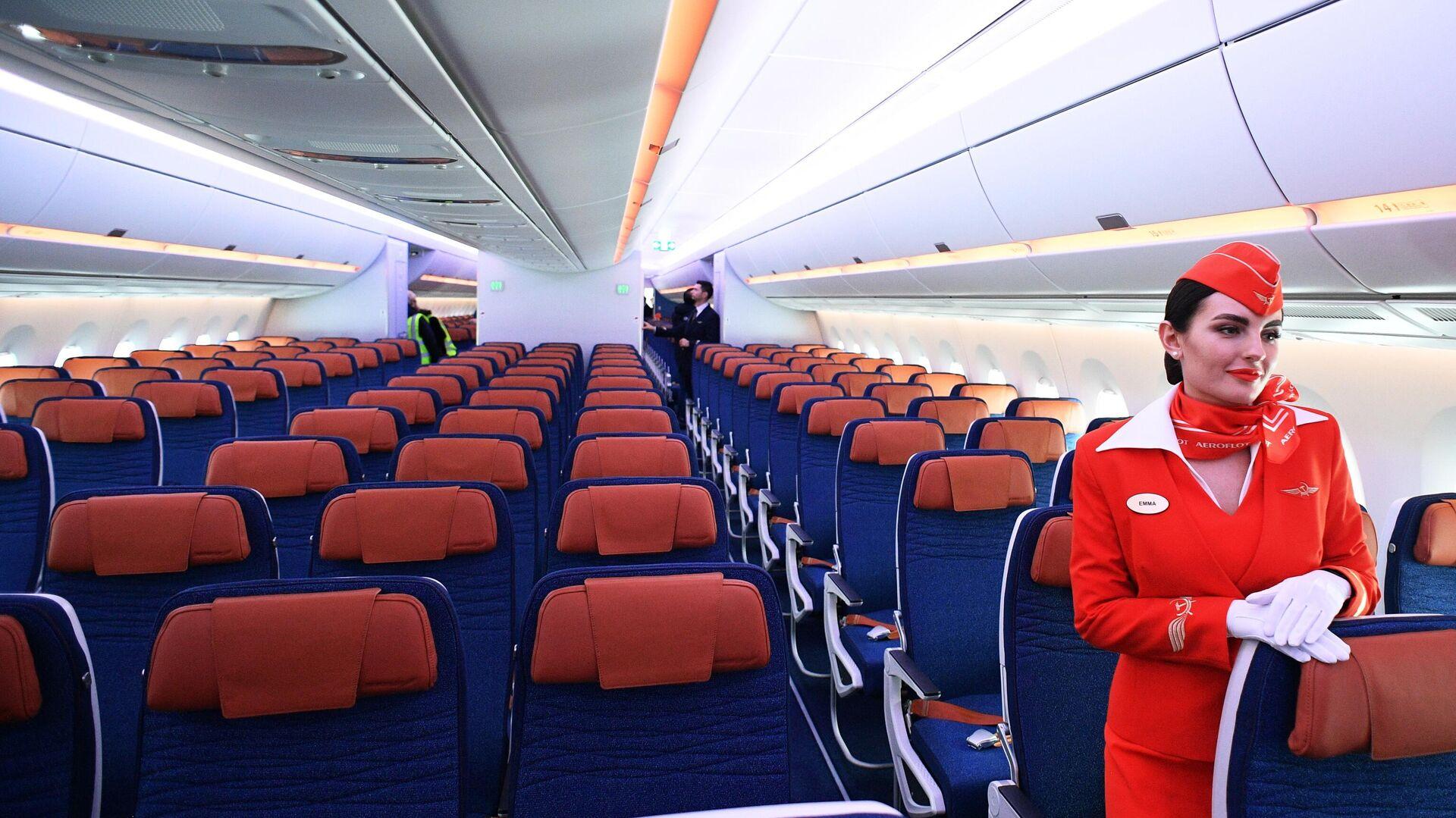 Стюардесса в салоне дальнемагистрального широкофюзеляжного пассажирского самолета Airbus A350-900 - РИА Новости, 1920, 11.01.2021