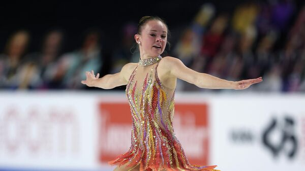 LAS VEGAS, NEVADA - OCTOBER 24: Mariah Bell of the USA competes in the Ladies Free Skating program during the ISU Grand Prix of Figure Skating at the Orleans Arena on October 24, 2020 in Las Vegas, Nevada.   Jamie Squire/Getty Images/AFP