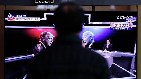 Репортаж о выборах в США на южнокорейском телевидении