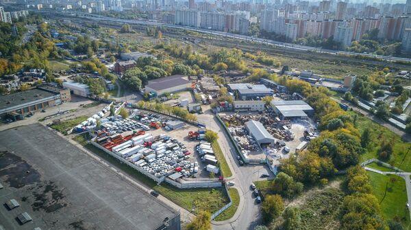 Вид с квадрокоптера на промзону Коровино на севере столицы