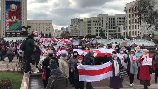 Кадры протестного марша пенсионеров в Минске