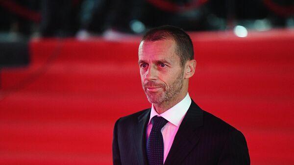 Президент Союза европейских футбольных ассоциаций (УЕФА) Александер Чеферин перед началом церемонии жеребьевки финальной стадии чемпионата Европы по футболу 2020 года.