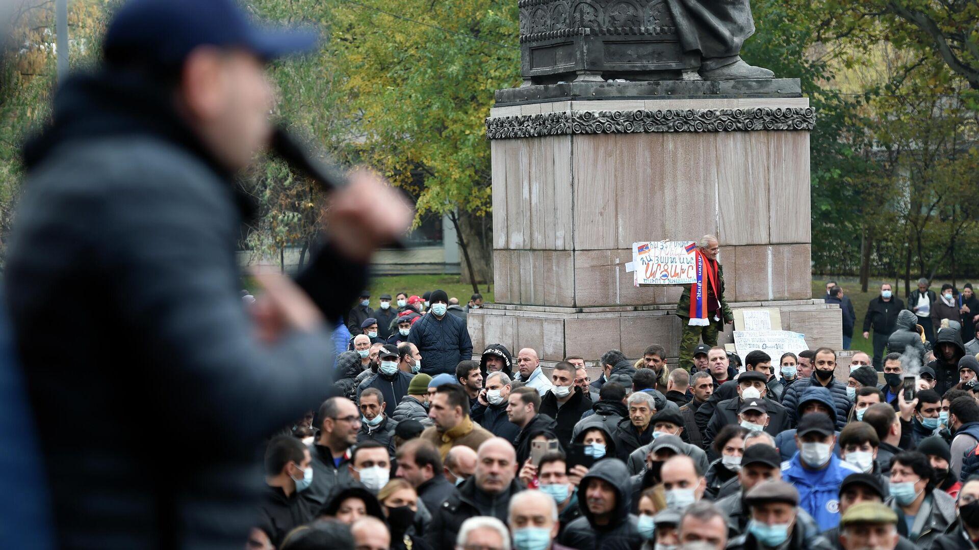 Участники акции протеста против действующего правительства на площади Свободы в Ереване - РИА Новости, 1920, 02.12.2020