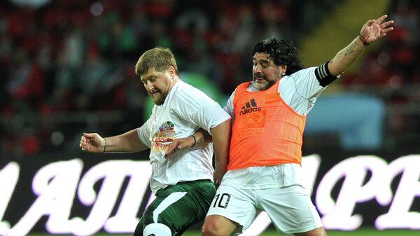 Глава Чеченской Республики Рамзан Кадыров и аргентинский футболист Диего Марадона (слева направо)