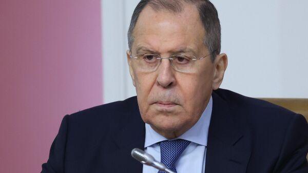 Министр иностранных дел России Сергей Лавров во время совместного заседания коллегий МИД РФ и Белоруссии в Минске