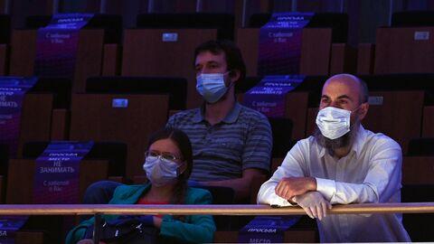 Зрители на концерте мужских церковных хоров в концертном зале Зарядье в Москве.