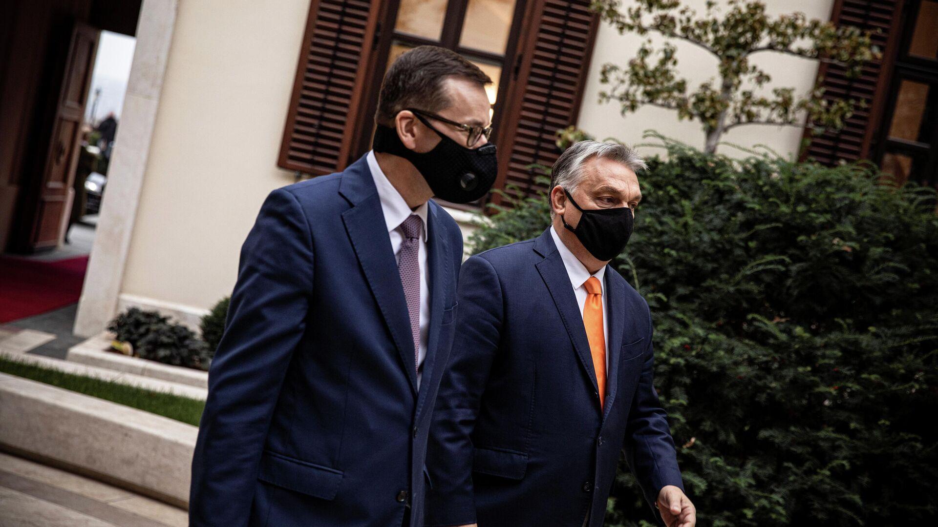 Премьер-министр Венгрии Виктор Орбан и премьер-министр Польши Матеуш Моравецкий в Будапеште. 26 ноября 2020 года  - РИА Новости, 1920, 28.11.2020