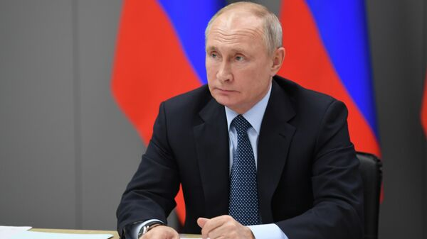 Президент РФ Владимир Путин проводит в режиме видеоконференции совещание по стратегическому развитию нефтегазохимической отрасли России