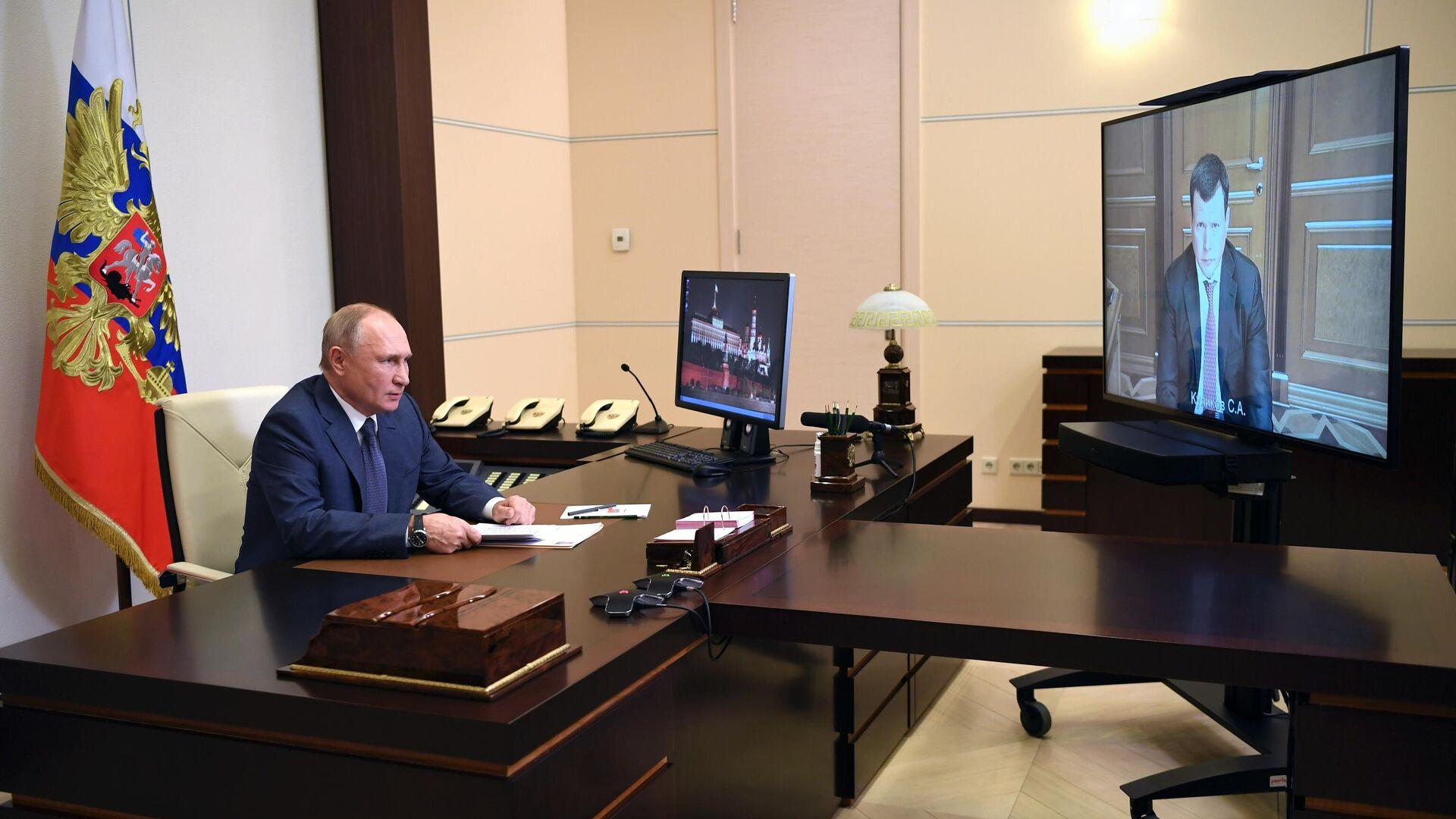 Президент РФ Владимир Путин во время встречи в режиме видеоконференции с Сергеем Куликовым - РИА Новости, 1920, 02.12.2020