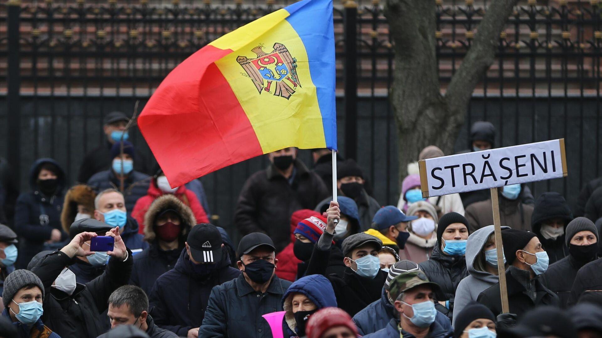 Участники акции сторонников избранного президента Молдавии Майи Санду у здания парламента в Кишиневе - РИА Новости, 1920, 04.12.2020
