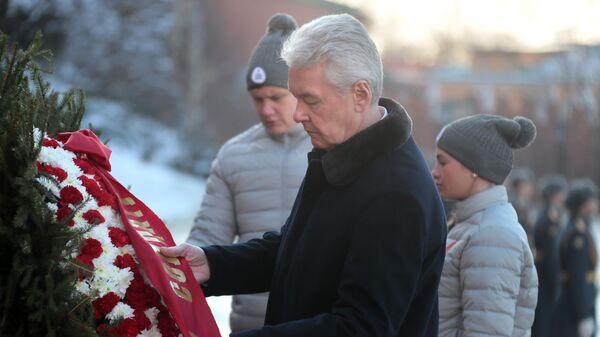 Мэр Москвы Сергей Собянин на церемонии возложения цветов к Могиле Неизвестного солдата