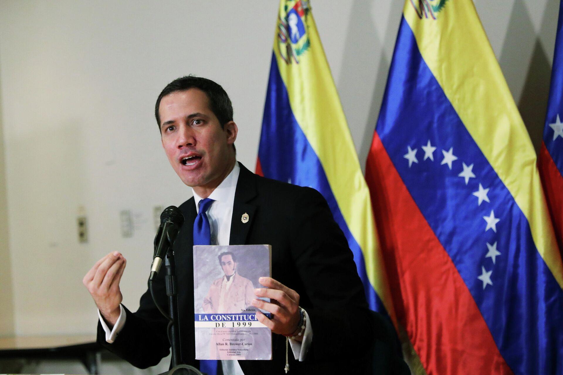 Лидер оппозиции Хуана Гуаидо во время пресс-конференции в Каракасе, Венесуэла. 5 декабря 2020 - РИА Новости, 1920, 07.12.2020