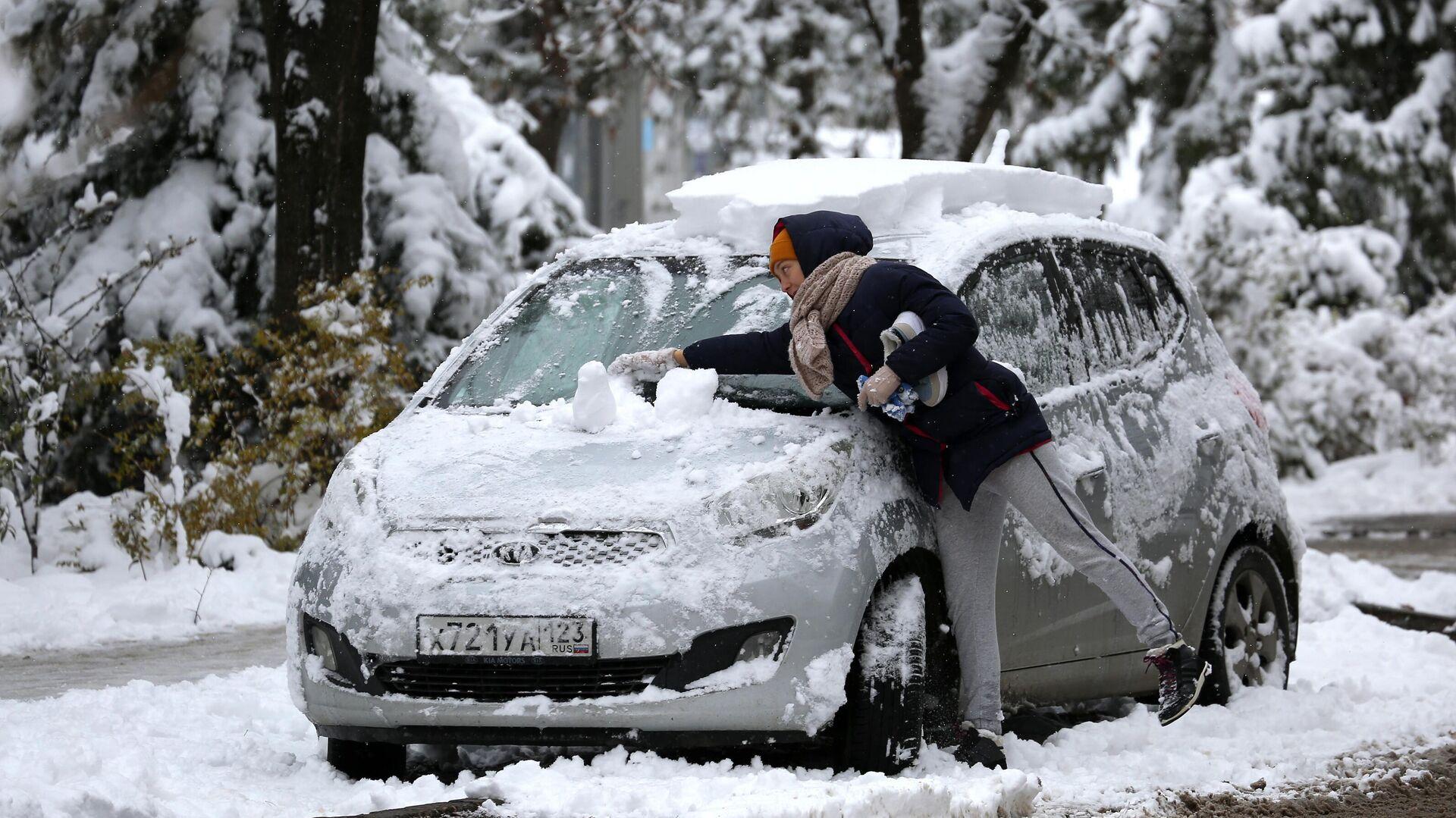 Снегопад в Краснодарском крае - РИА Новости, 1920, 09.01.2021