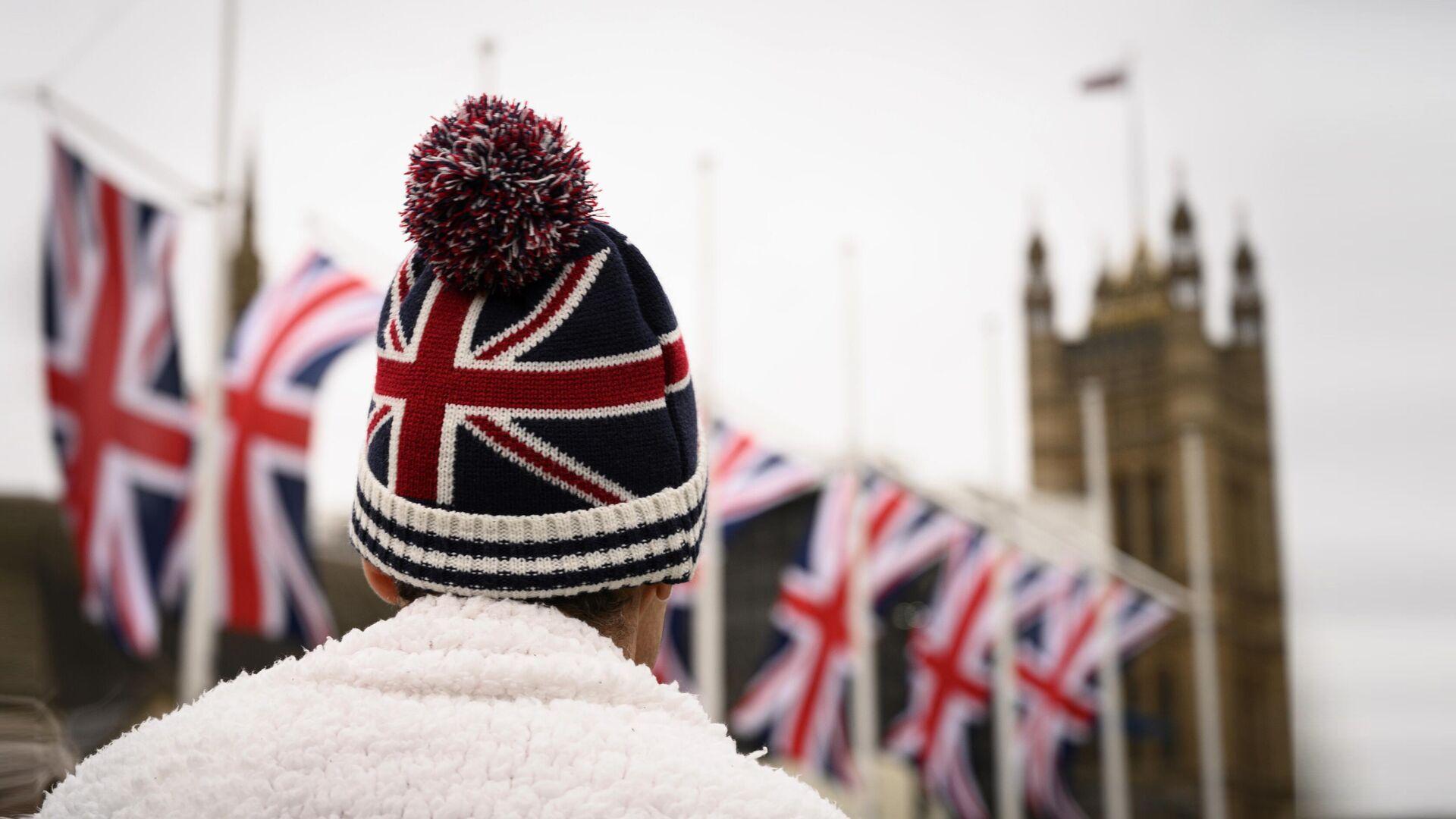 Сторонник Brexit на торжественных мероприятиях, посвященных выходу Великобритании из ЕС (Brexit Party) на площади Парламента в Лондоне - РИА Новости, 1920, 08.12.2020