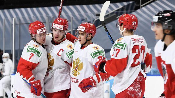 Хоккеисты молодежной сборной России на чемпионате мира