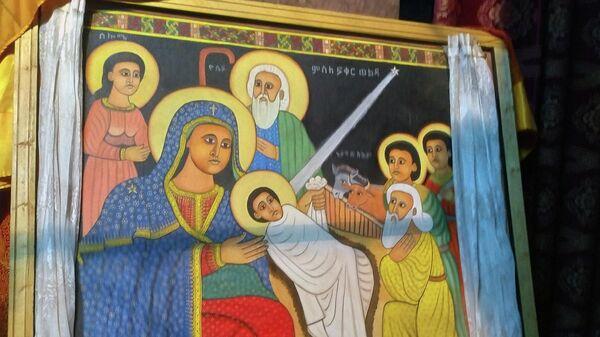 Эфиопская икона Рождества Христова