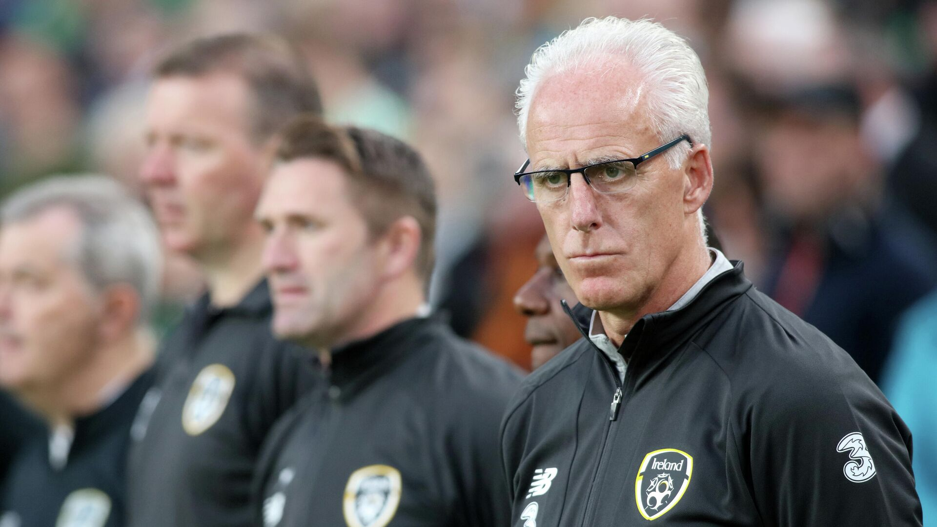 Republic of Ireland manager Mick McCarthy awaits kick off in the Euro 2020 football qualification match between Republic of Ireland and Switzerland at Aviva Stadium in Dublin, Ireland on September 5, 2019. - The game finished 1-1. (Photo by Paul Faith / AFP) - РИА Новости, 1920, 06.01.2021