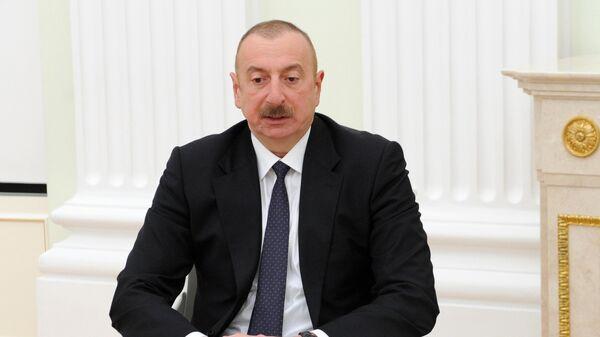 Президент Азербайджана Ильхам Алиев во время двусторонней встречи с президентом РФ Владимиром Путиным в Кремле