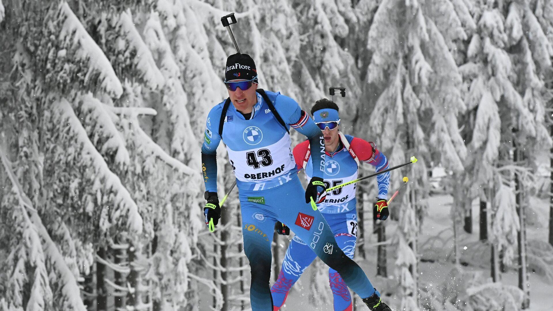 Биатлонисты Фийон Майе и Матвей Елисеев на этапе Кубка мира по биатлону - РИА Новости, 1920, 17.01.2021