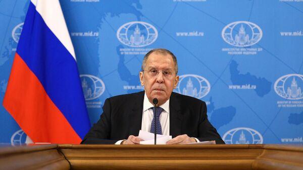 Министр иностранных дел РФ Сергей Лавров во время пресс-конференции по итогам деятельности российской дипломатии в 2020 году