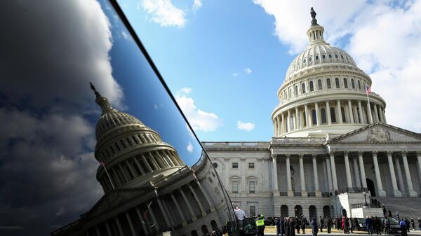 Капитолий США во время церемонии инаугурации Джо Байдена в Вашингтоне
