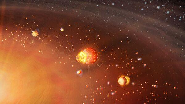 Художественное представление двухэтапной аккреции планетизималей Солнечной системы. На переднем плане образуются планеты земной группы, на заднем - планеты внешней зоны