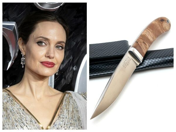 Актриса Анджелина Джоли и нож