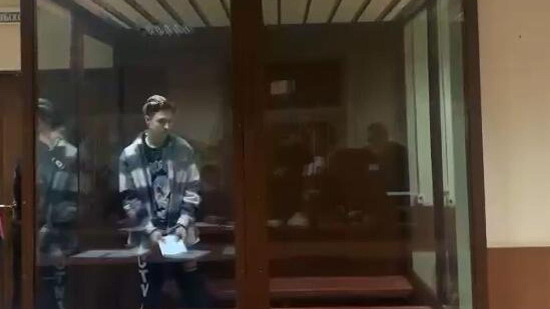 Видеоблогер Константин Лакеев, подозреваемый в нападении на служебный автомобиль ФСБ на незаконной акции в Москве 23 января, на заседании Пресненского районного суда города Москвы - РИА Новости, 1920, 04.03.2021