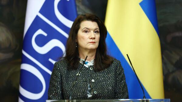 Министр иностранных дел Швеции Анн Линде на пресс-конференции по итогам встречи с Сергеем Лавровым в Москве